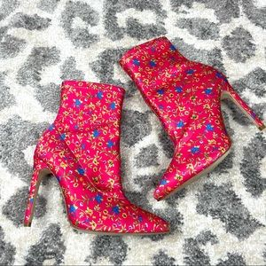 Raye x Revolve Pink Floral Stretch Booties 5 1/2